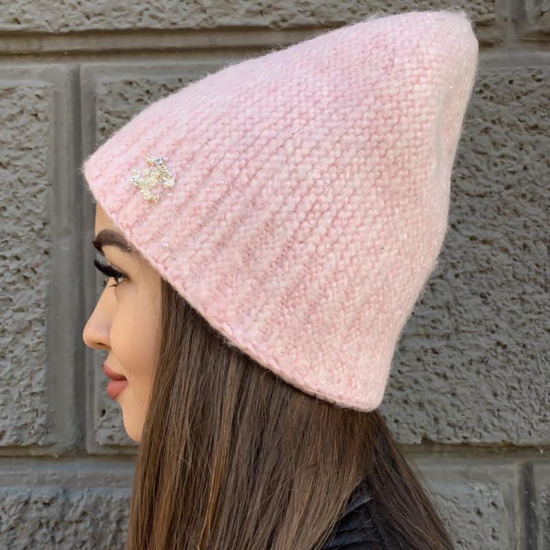 Женская шапка 6118 розовая