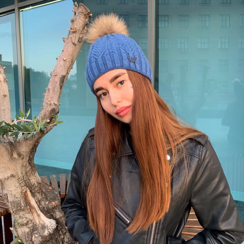 Женская шапка 724 синяя