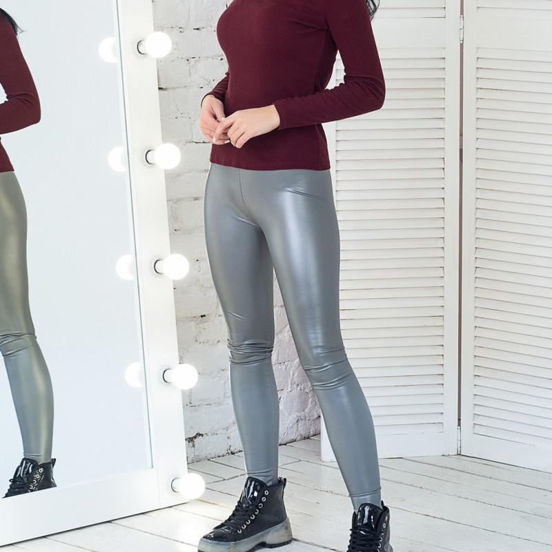 Женские кожаные лосины C3 серебряные