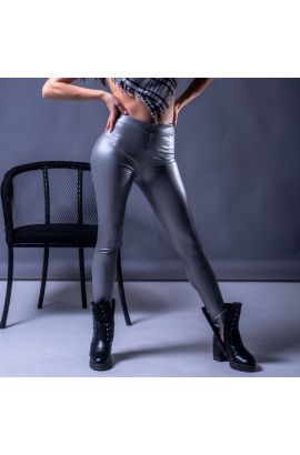 Жіночі шкіряні лосини C3 сріблясті