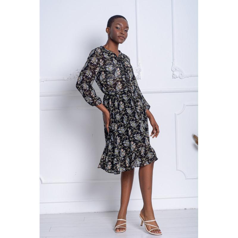 Шифоновое платье с цветочным рисунком (NM-084)