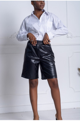 Кожаные шорты на резинке Черные (NM-08SH)