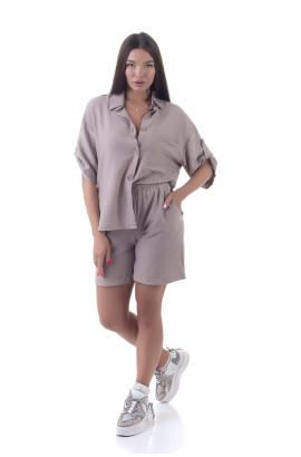 Літній костюм льон-жатка двійка: шорти + сорочка (NM-13КЛ) кавовий