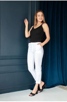 Хлопковые брюки  белого цвета на шнурке (59100U)