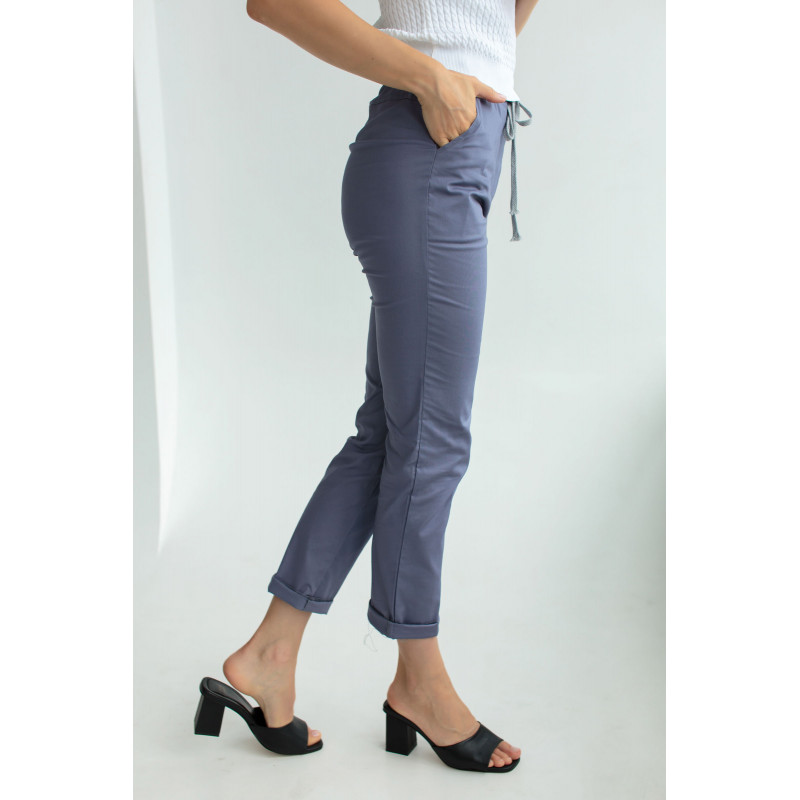 Бавовняні штани синього кольору на шнурку (59100U)