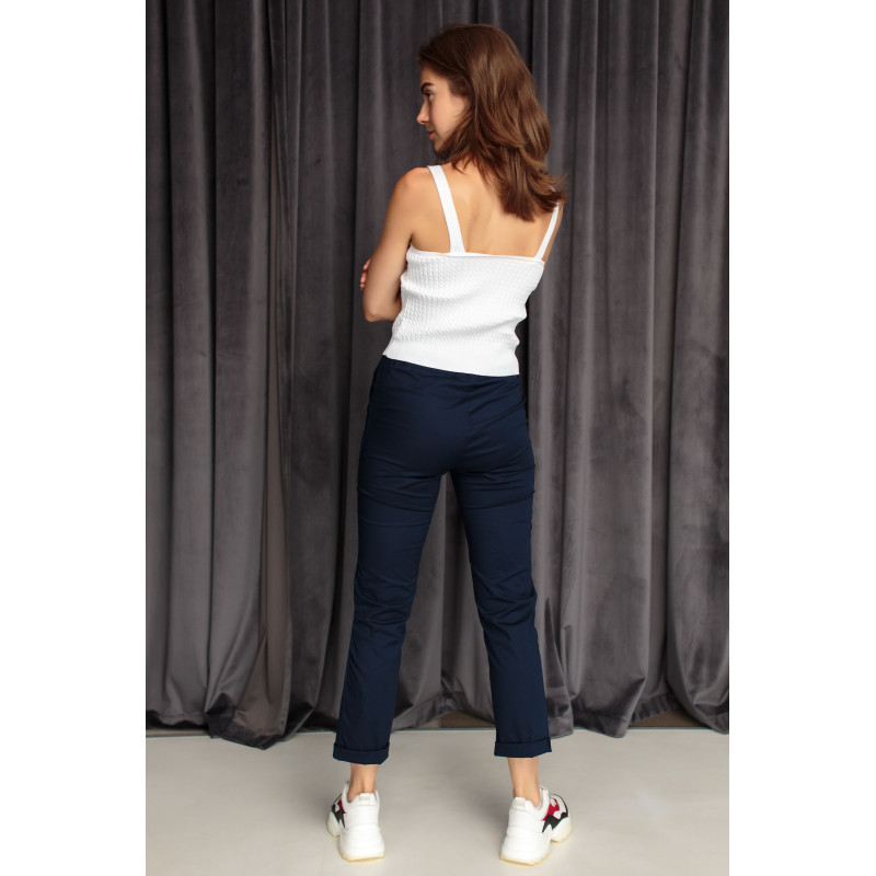 Бавовняні штани темно-синього кольору на шнурку (59100U)