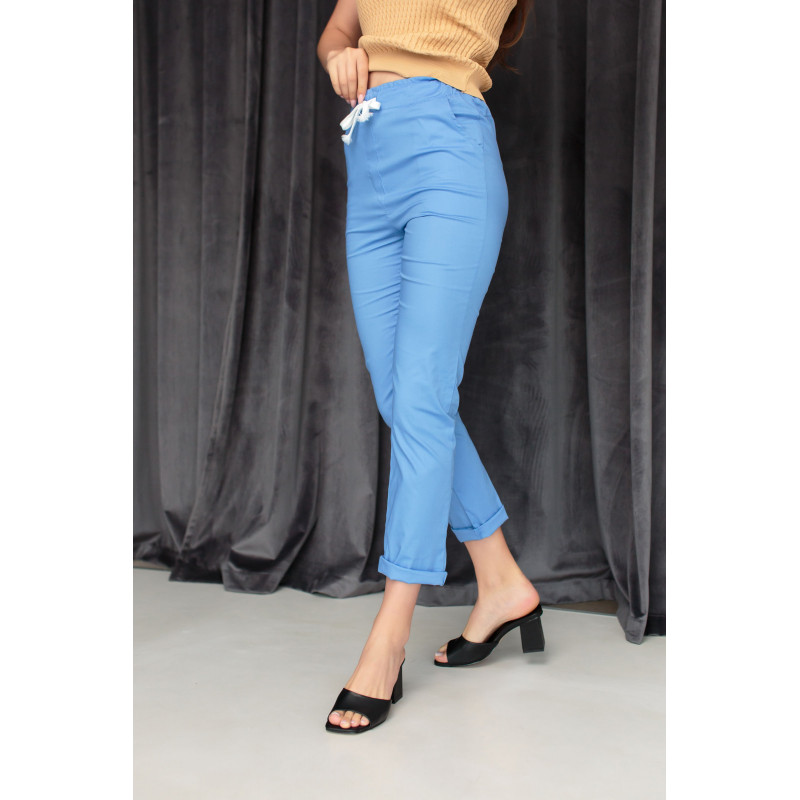 Хлопковые брюки голубого цвета на шнурке (59100U)