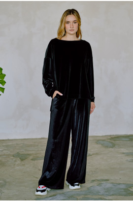 Костюм жіночий чорний оксамит ( NM-19N ) кофта + штани