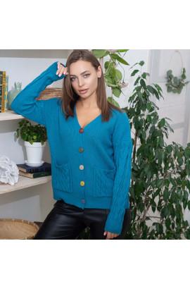 Женская кофта на пуговицах Fine Clothes 05 бирюзовая