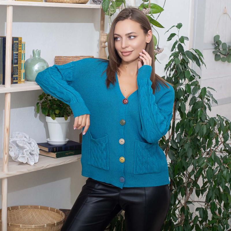 Жіноча кофта на гудзиках Fine Clothes 05 бірюзова