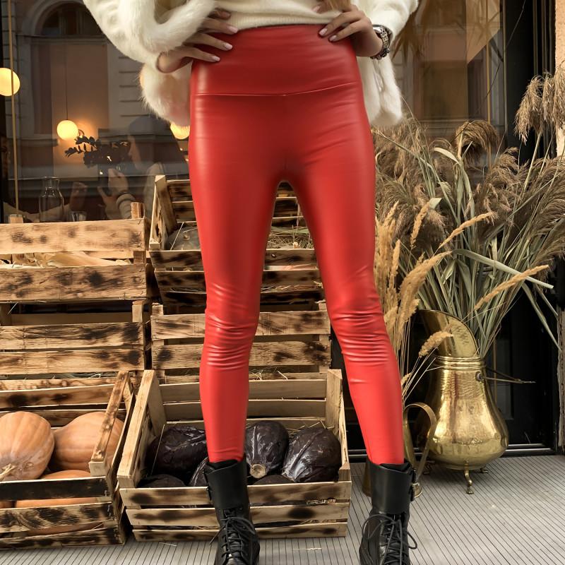 Жіночі шкіряні лосини C2# червоні