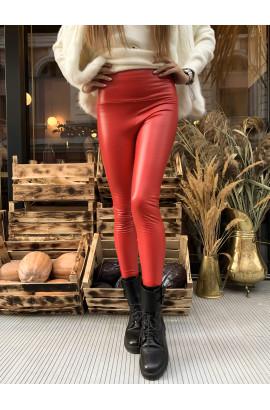 Женские утепленные кожаные лосины C2 красные