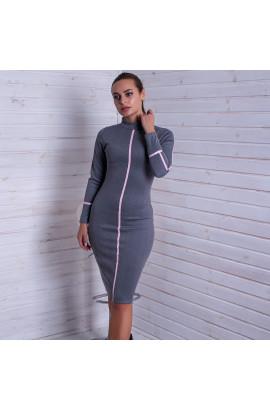 Сукня дайвінг по фігурі сіра з  рожевими елементами Dance + Dance 14788