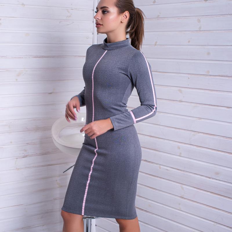 Платье дайвинг по фигуре серое с розовыми элементами Dance+Dance 14788