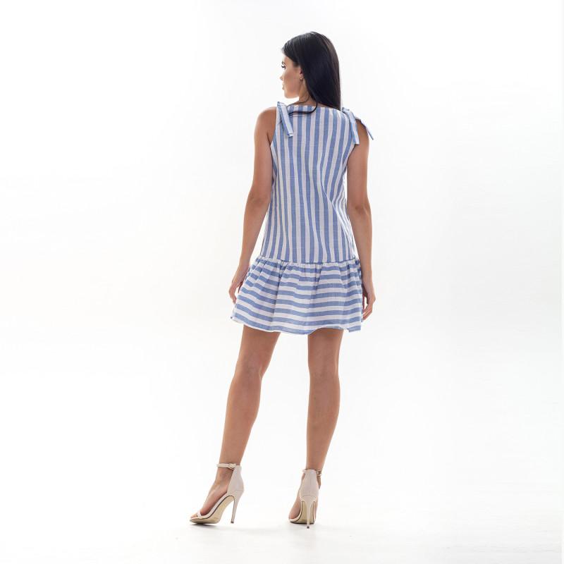 Жіночий сарафан Shein 5350 у біло-синю смужку