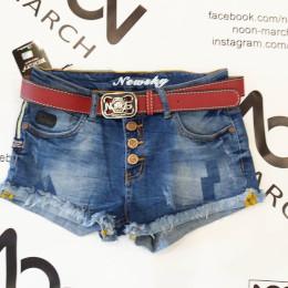 Стильные, рваные, с кружевом джинсовые шорты